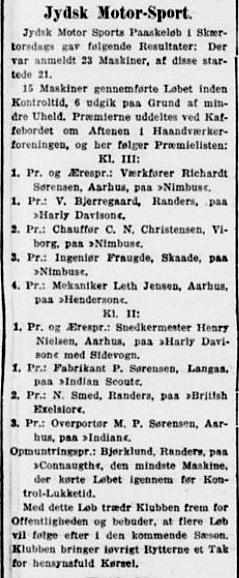 Jydsk Motor Sport, Aarhus arrangerede fast i mange år et påskeløb. Her er omtalen fra deres første påskeløb i 1922.1922-04-15 Stiften