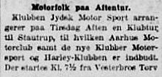 Jydsk Motor Sport inviterer et par nye klubber i Aarhus med på en aftentur. 1928-05-20 Stiften