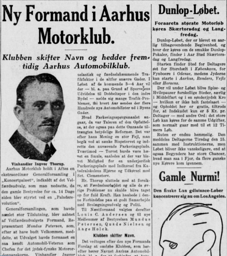 I april 1930 skifter den gamle Aarhus Motor Klub navn til Aarhus Automobil Klub. Stiften 1930-04-05 img1