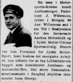 Jydsk Motor Sport er sandsynligvis lukket omkring krisen i trediverne. En 60 års fødselsdagsannonce her fortæller lidt om en af drivkræfterne i denne klub. 1935-09-26 Stiften