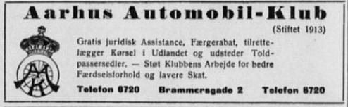 Annonce fra AAK, hvor man kan se, at det ikke drejer sig om motorsport. 1937-06-08 Stiften.