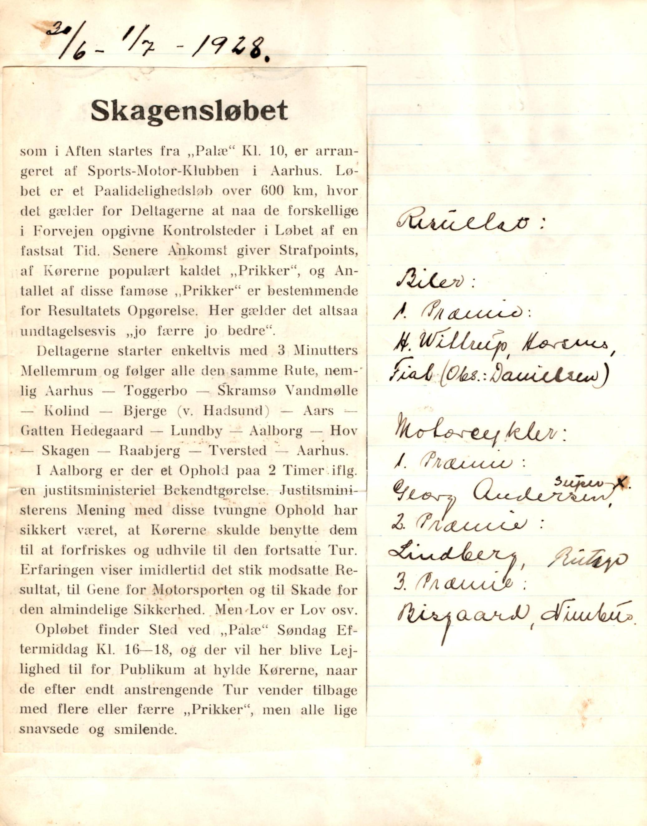 Løbet Aarhus-Skagen 1928