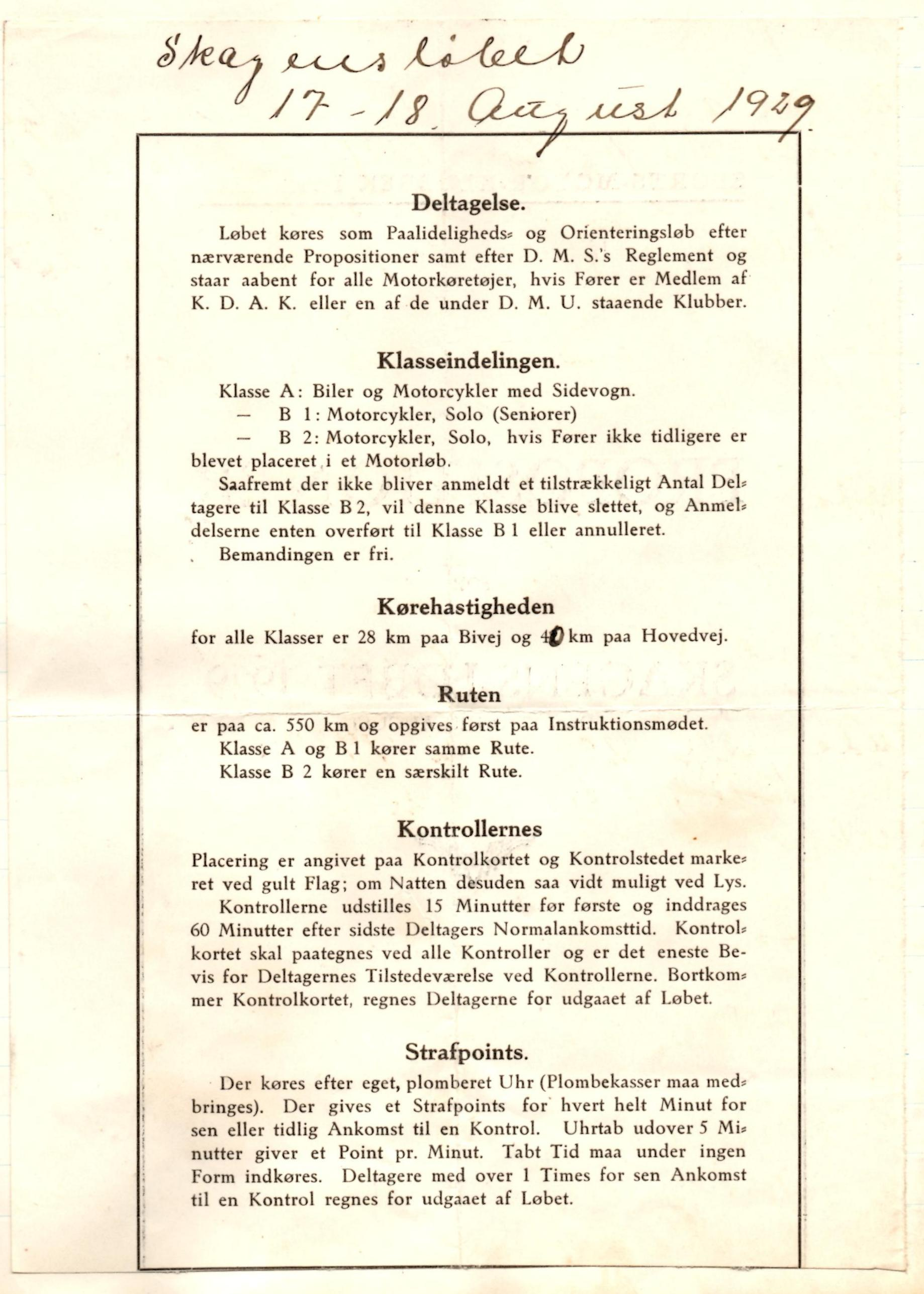 Tillægsregler/resultat 1929-1