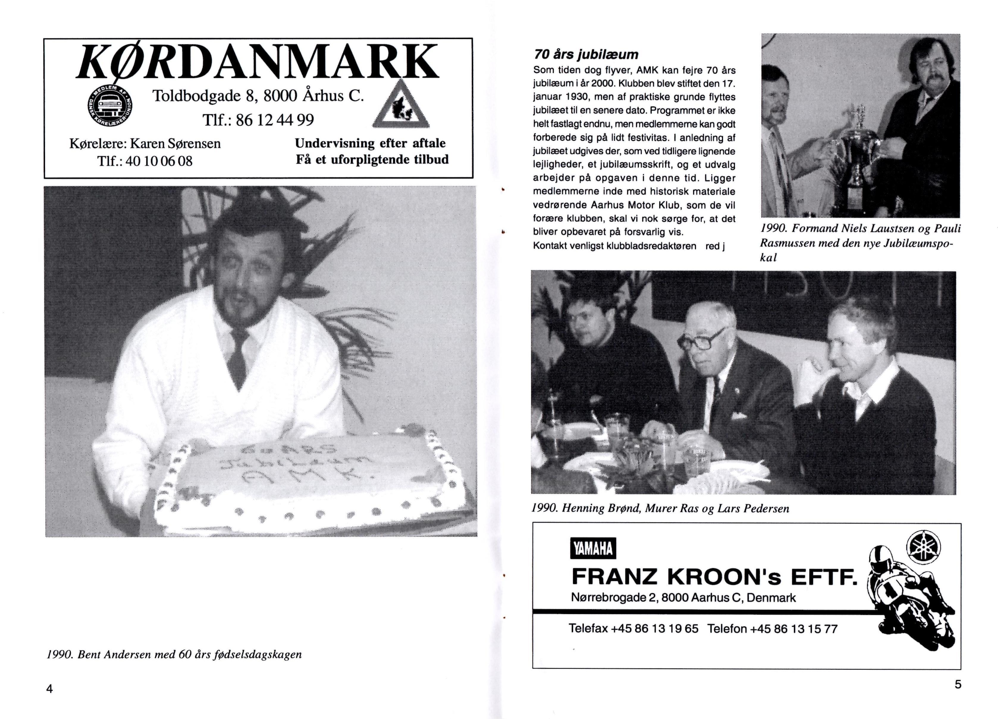 Introduktion i klubblad dec. 1999 til 70 års Jubilæum med billeder fra 60 års Jubilæum