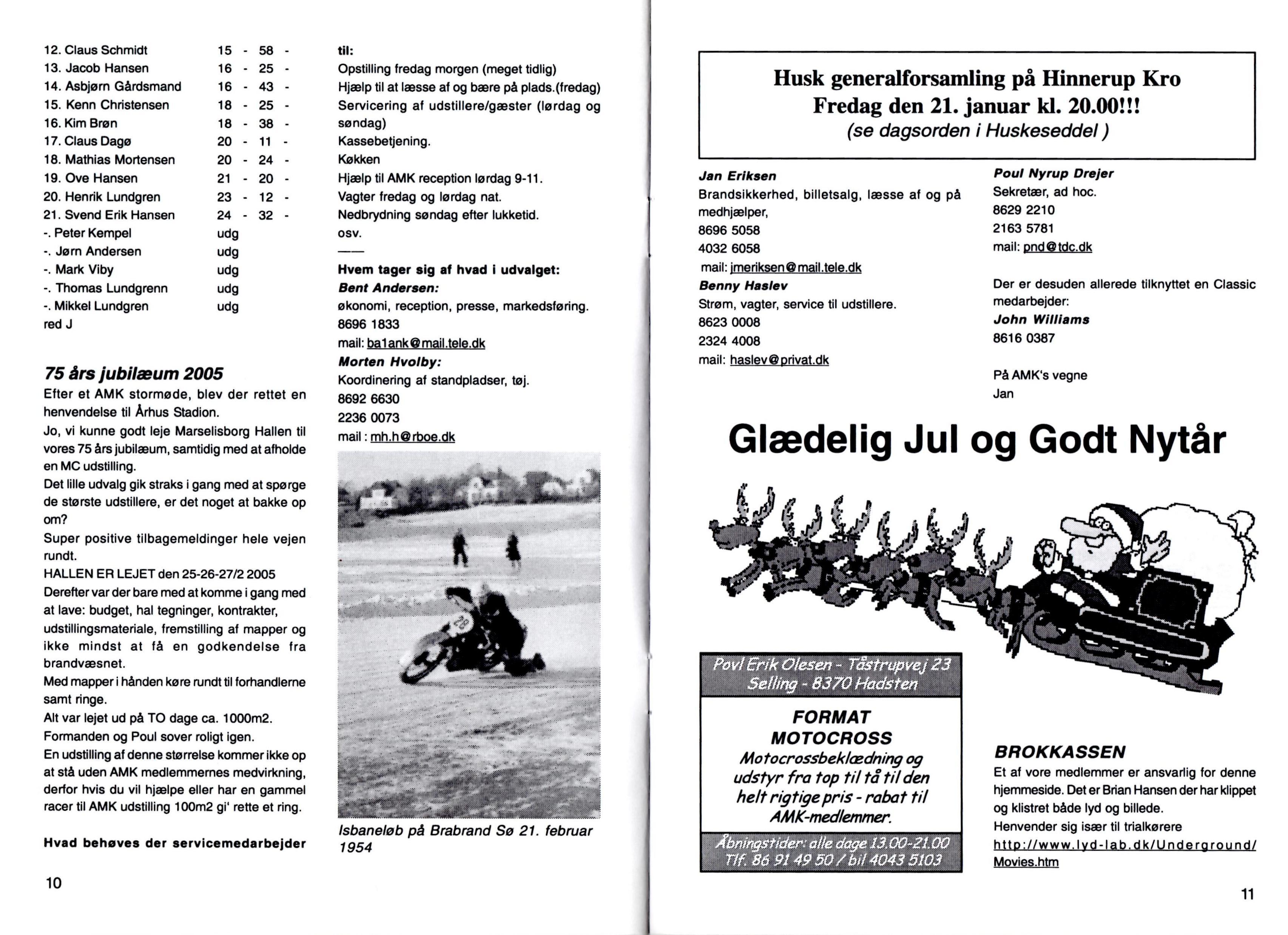 Annoncering af 75 års Jubilæumsarrangementet i klubblad dec. 2004