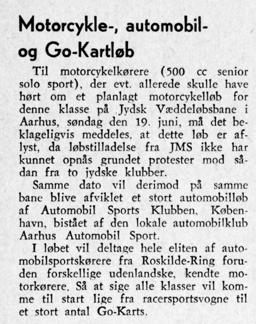 Motorbladet juni 60 bragte disse to små indlæg vedr. aflysning af mc-delen af stævnet. Img1
