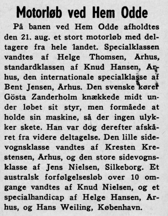 Omtale i sept. nummer. der er et par trykfejl. Helge Thomsen skal være Helge Hansen og Knud hansen Knud Nielsen.