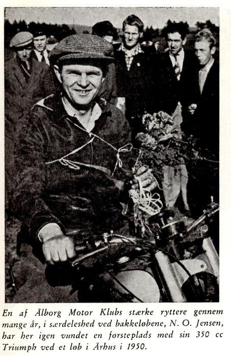 N.O. Jensen, dagens sejrherre i 350cc klassen. Fra Den Blå Bog.
