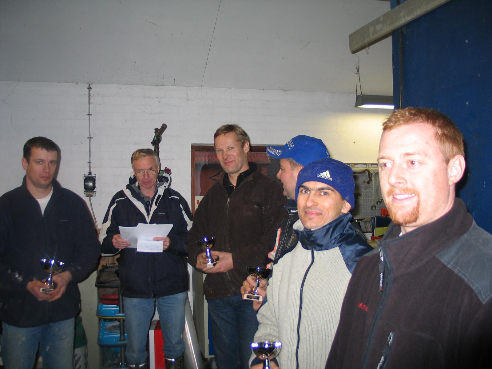 Klassementet. Vinder Kenneth Mikkelsen, nr. 2 Niels Ole Hald, nr. 3 Lars Sørensen, nr. 4 Reza Fomsgaard, nr. 5 Jesper Antonsen, FMS.