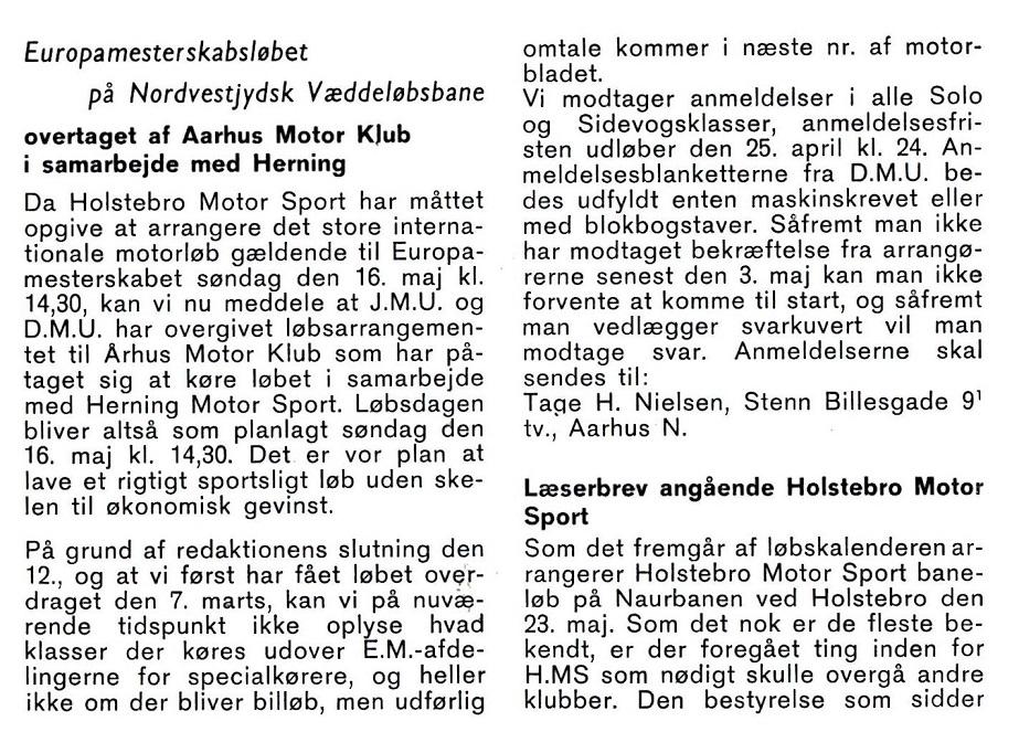 1965-04 MB AMK EM løb Skive foromtale