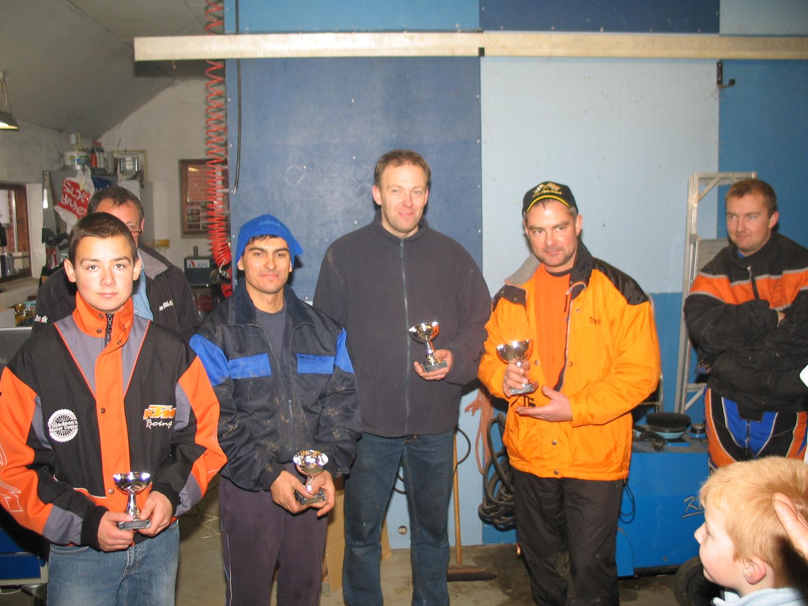Klassementet. Lars Sørensen vandt foran Benny, Reza og Nick.