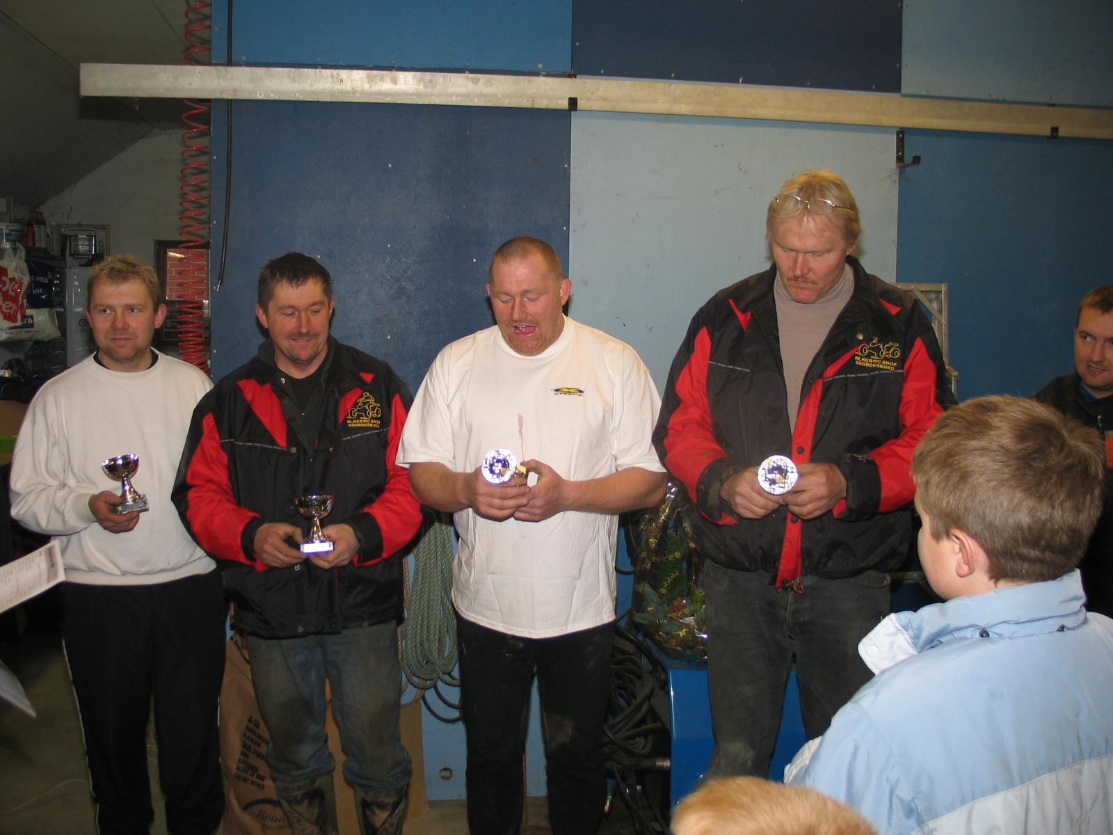 Quad Mini. Fra venstre Kim Læssøbo nr. 2, vinderen Frank Jensen, nr. 4 Tom Jensen, nr. 3 Brian Jensen.