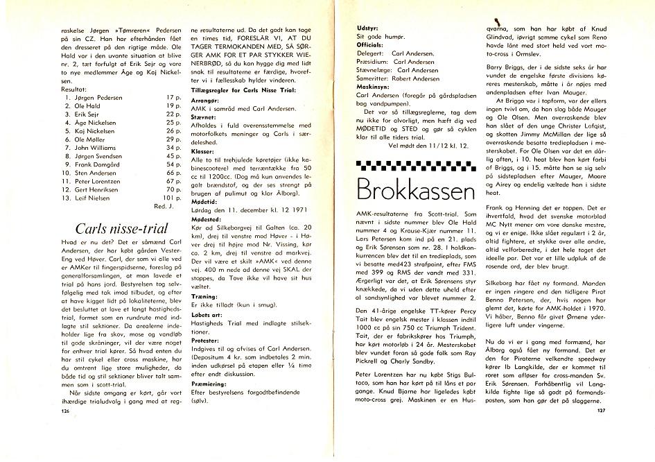 Annoncering af det første Carls Nissetrial i 1971.
