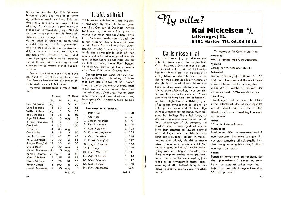 Omtale og resultat af det første Carls Nissetrial 1971