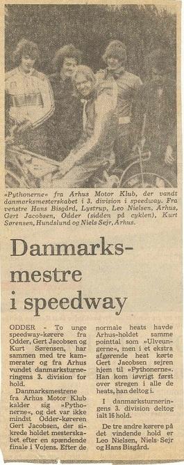 Avisklip med omtale af 3. divisionsmesterskabet i 1978.
