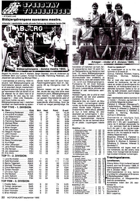 1985. Pythonerne blev nr. 13 i 2. div. Denne sæson blev holdets sidste.
