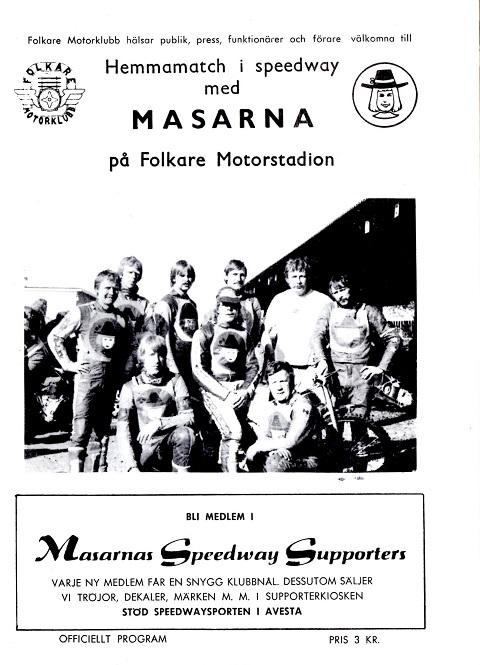 1979. Bemærk at den gamle banes navn Avestavallen er skiftet ud med navnet Folkare Motorstadion for den nye bane i Brovallen.