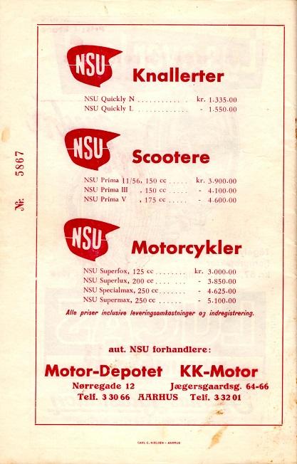 På bagsiden af samme program annonceres for to-hjuls programmet også begge steder.