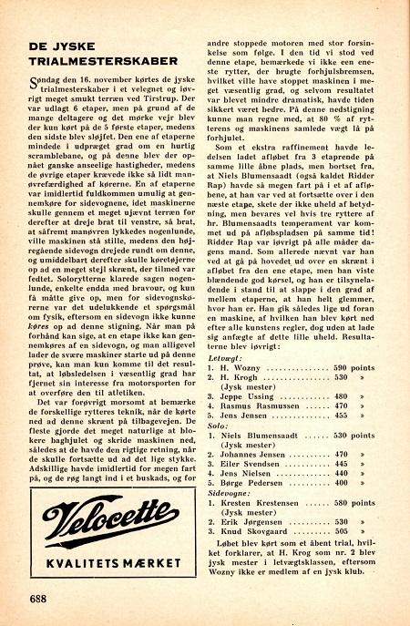 En omtale i Skandinavisk Motor Journal fra JM Trial, der blev afholdt ved Tirstrup i nov. 1952. Her sikrede Kresten sig titlen i sidevognsklassen.