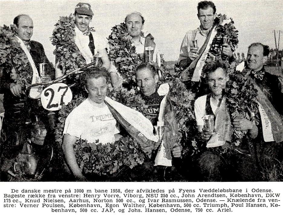 De danske mestre i 1958. fra DMU´s 50 års Jubilæumsskrift.