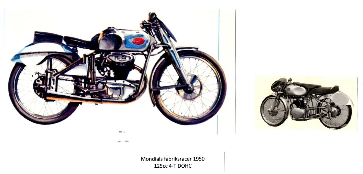 Til højre et billede af en Mondial racer fra 1950. Til venstre et overlevet eksemplar hentet fra nettet.