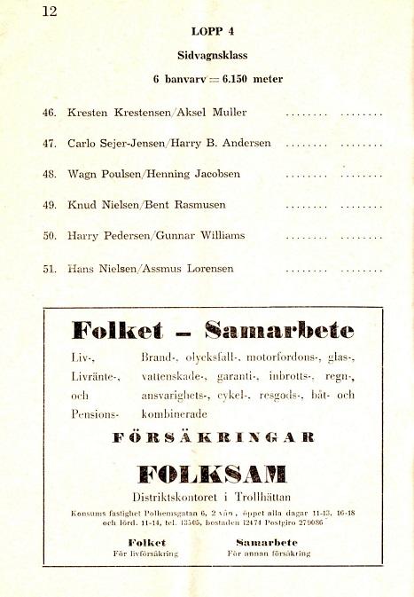 Fra programmet ses oplistningen af det danske opvisningsfelt, der skulle vise svenskerne, hvordan man kørte sidevogns-cross.