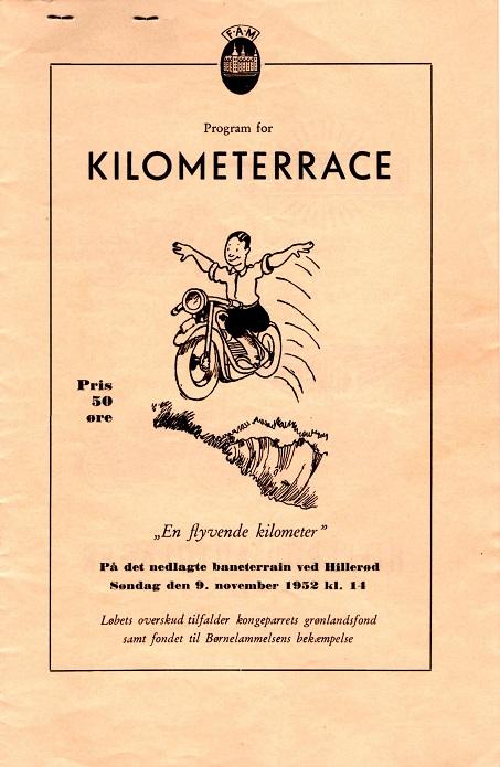Programforsiden til FAM´s Kilometerrace i 1952