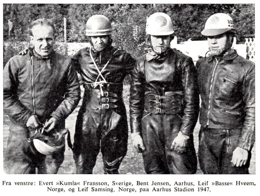 Fornemt besøg på Aarhus Stadion i okt. 1947. Selvom konkurrencen var hård lykkedes det Bent at vinde på hjemmebanen.