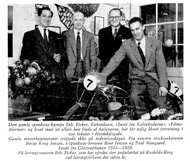 Et efterkarriere billede. Bent Jensen deltog i en reception hos Erhardt Fisker, hvorefter billedet blev bragt i DMU blad jan. 57.