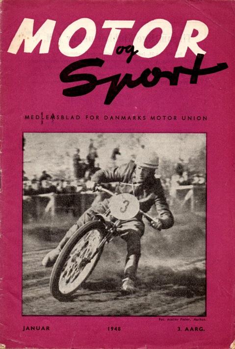 Forsiden af DMU bladet jan. 48, der bragte et fint interview med Bent, der her ses under løbet på Hem Odde i maj 47.