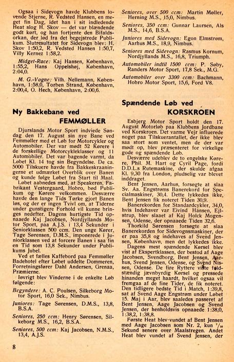 Omtale i DMU blad sept. 47. Djursland Motor Sport har afholdt bakkeløb på en ny bakke ved Femmøller 17. aug. 47.