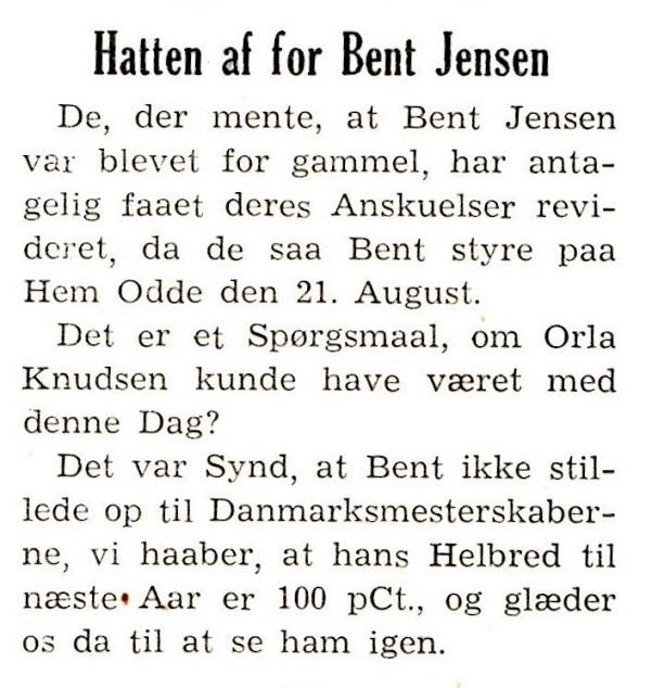 Et klip fra et klubblad i 1949, der viser at Bent på grund af dårligt helbred ikke forsvarede sin titel fra Charlottenlund ved årets mesterskaber i Hobro.