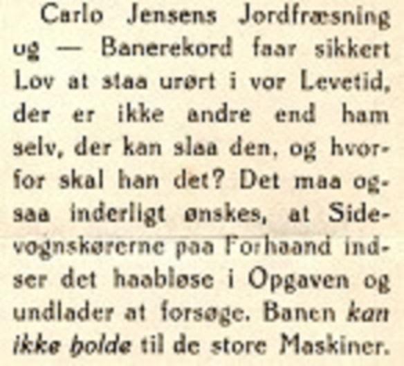 Efter Carlos rekord på Hem Odde i maj 50 kom redaktøren med ovenstående kommentar i klubbladet.