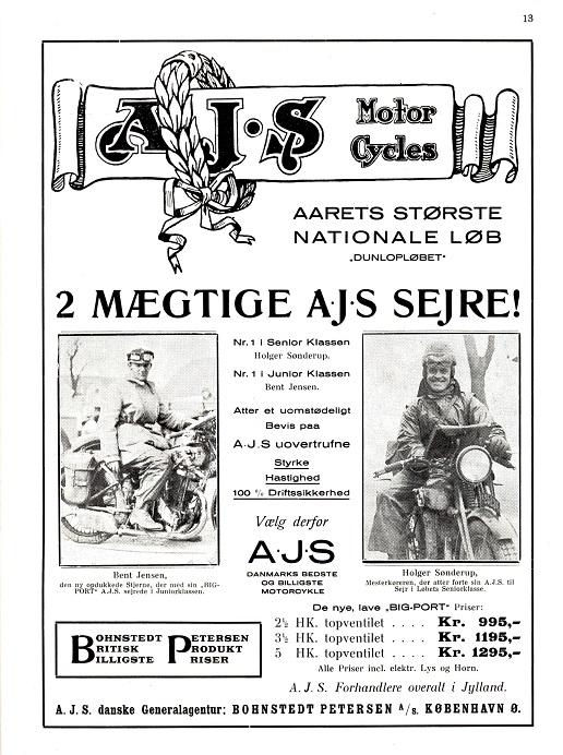 Bladet Jydsk Motor bragte i maj 1931 denne annonce med et billede af Bent som sejrherre i Dunlopløbet.