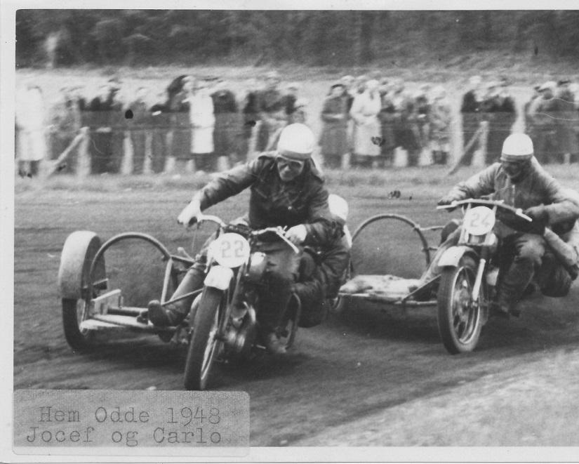 Løvel maj 48. Carlo foran Josef Koch. Mærkningen Hem Odde er ikke korrekt.