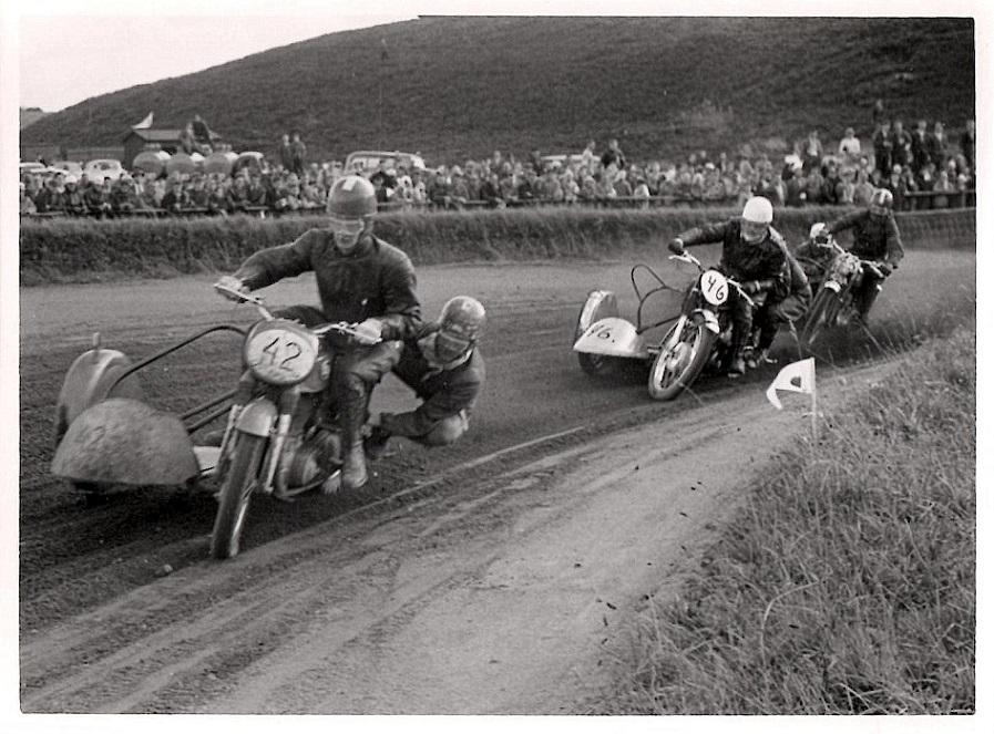 JM Løvel 1957. Harry P. og Gunnar er her foran Carl og P.Mut, men det bliver Carl, som vinder JM denne dag.