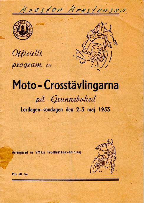 Programforsiden fra Trollhättan, hvor Harry og Gunnar vandt opvisningsløbet.