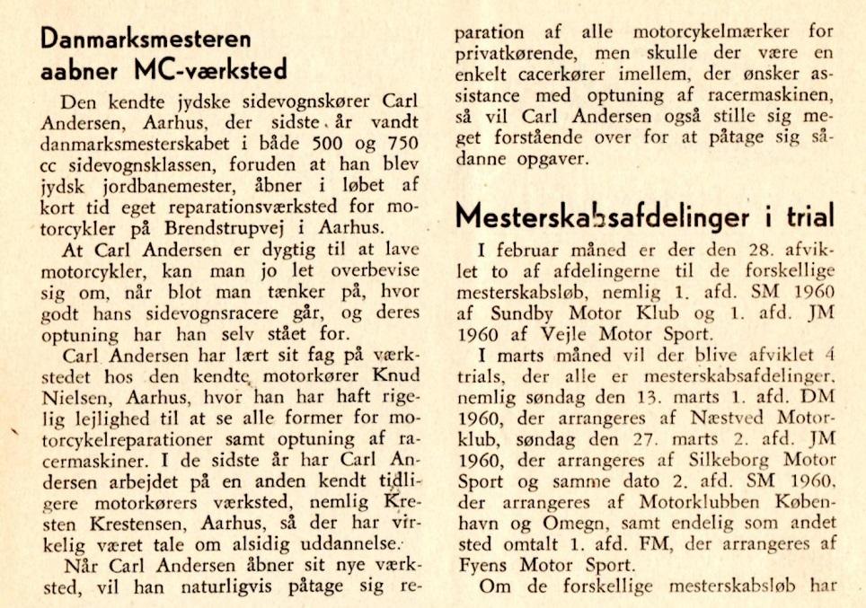 DMU-blad fra marts 1960. Artiklen om værkstedsåbningen alene.