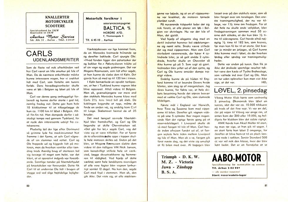 Henning Elmstrøms artikel i klubbladet aug. 1963, hvor han beretter om den uheldsramte tur til Mettet og Isle of Man .
