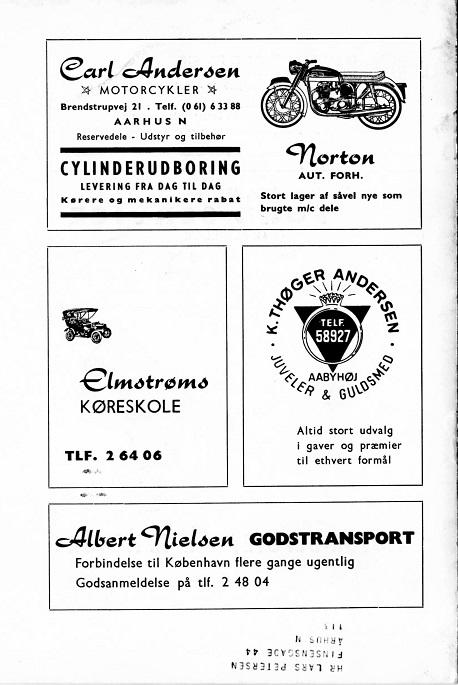 Klubbladsannonce som den blev bragt april 1964. Bemærk adressen Brendstrupvej 21 og Norton forhandlingen.