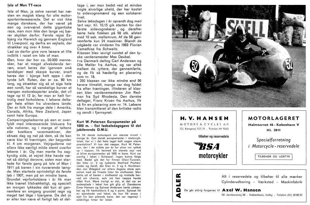 DMU-bladet okt. 64 skrev om Isle of Man og løbet i 1964.