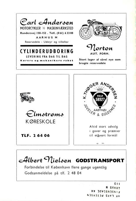 Klubblad febr. 65. Næsten samme annonce, men adressen er her ændret til Randersvej 150-152.