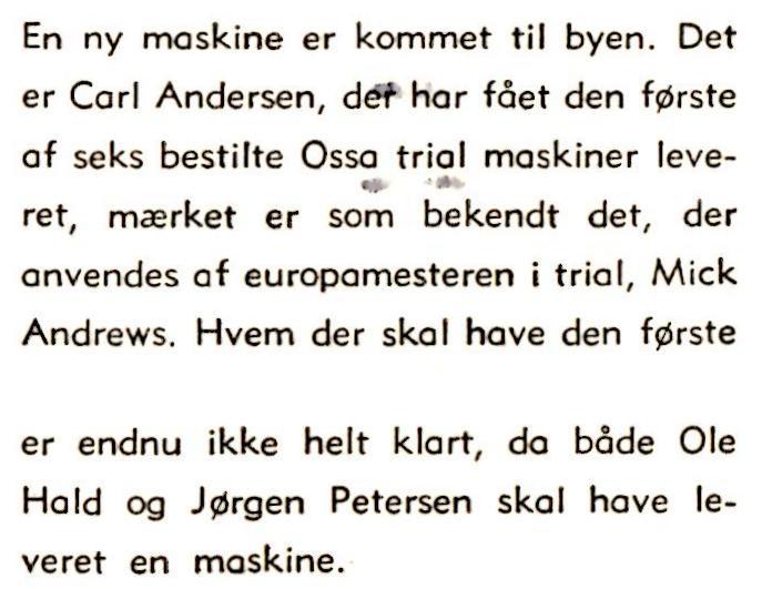 Klubblad nov. 1972. Det bemærkes i en notits at Ossa er kommet til byen.