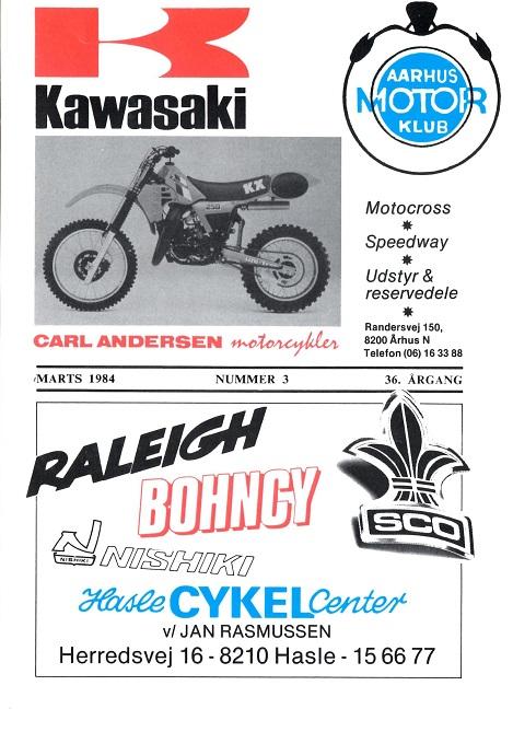 Carl annoncerede i mange år for Kawasaki i klubbladet. Her et eksempel fra marts 84.