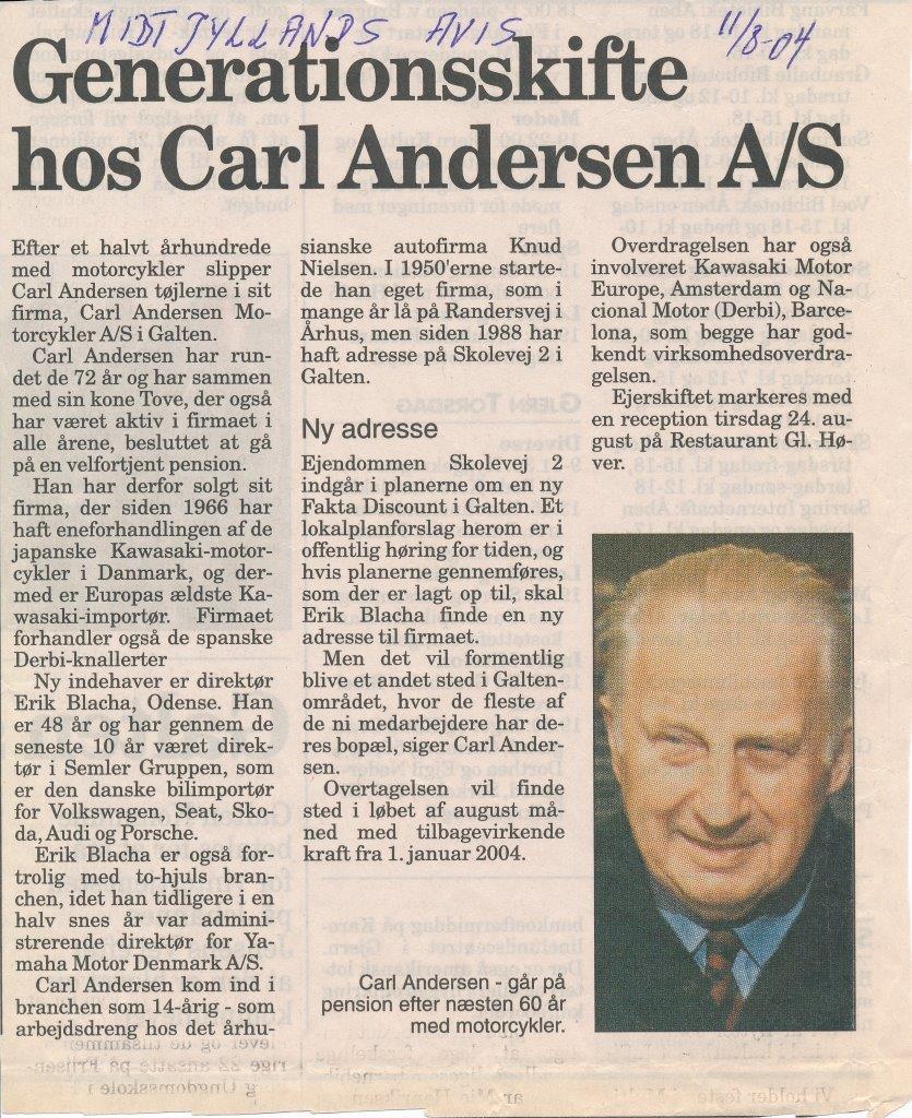Carl Andersen MC solgt, Midtjyllands Avis