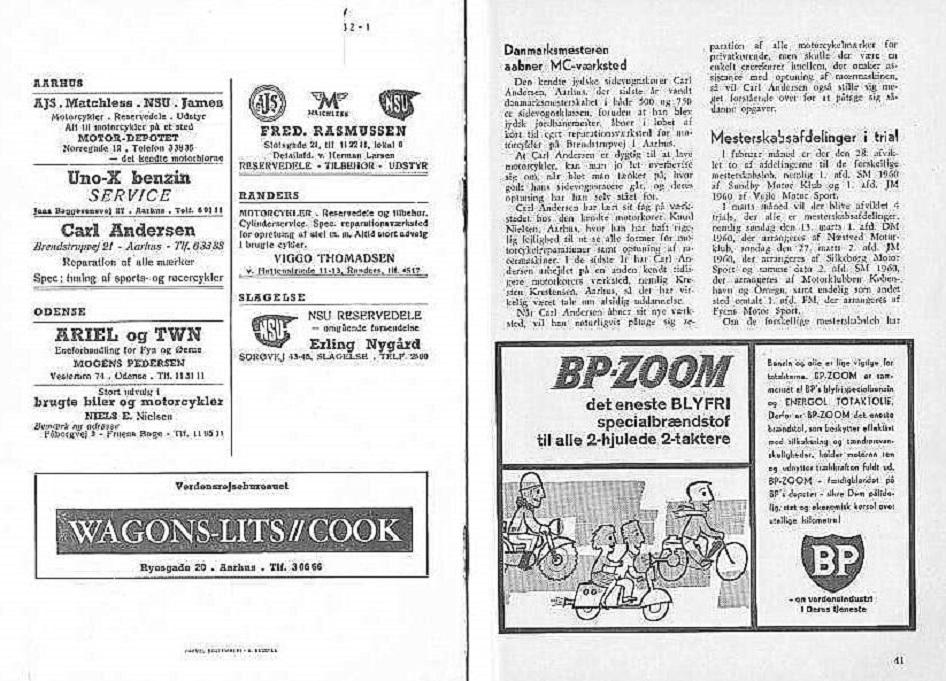 DMU-blad fra marts 1960. Se artiklen til højre om det nye firma, men bemærk også annoncen til venstre.
