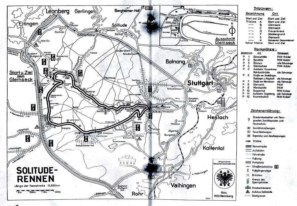 Senere på året gik turen til Solitude Rennen i Tyskland. Her et kort over banen.