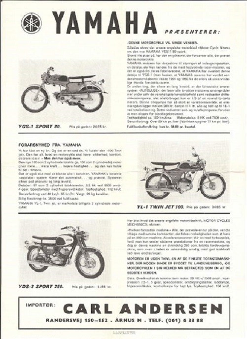 En brochure for Yamaha som Carl uddelte i 1966.