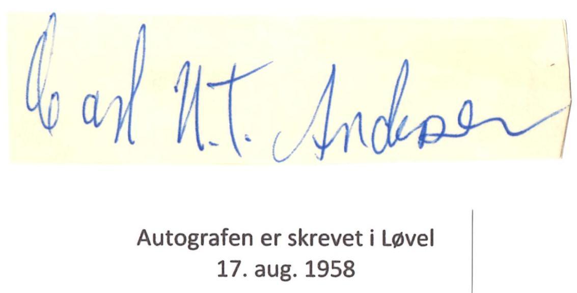 Den omtalte autograf med Carl U.T.