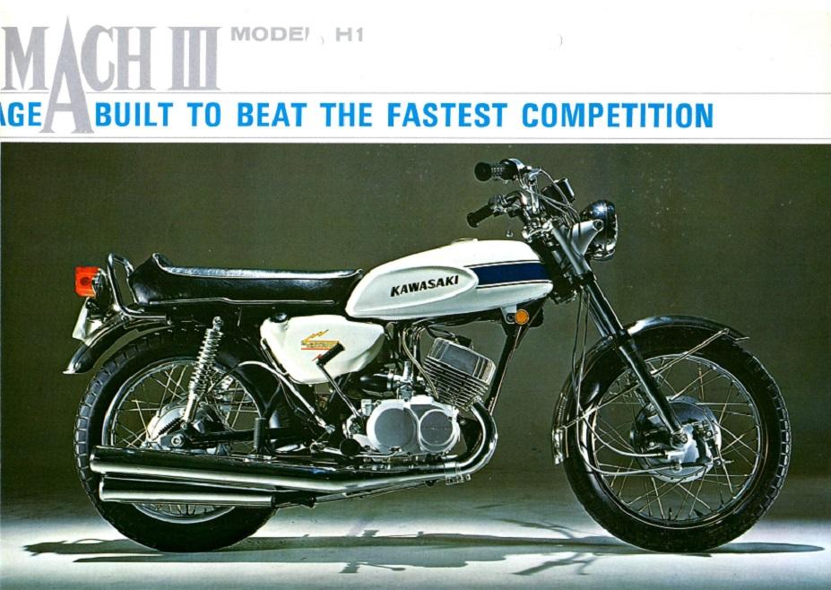 Det var motoren fra denne MachIII, der var drivkraft i sidevognsraceren i 1969. Billedet er fra en salgsbrochure.